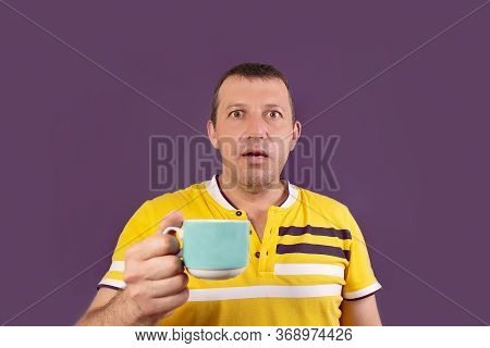 The Astonished Man With A Cup, On A Purple Background