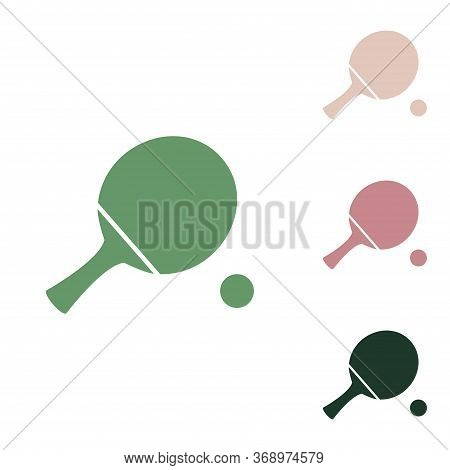 Ping Pong Paddle With Ball. Russian Green Icon With Small Jungle Green, Puce And Desert Sand Ones On