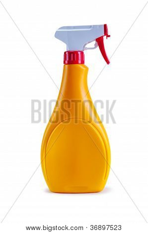 Yellow Plastic Dispenser With Cleaning Liquid
