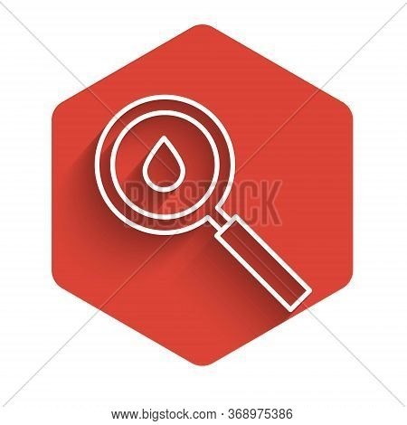 White Line Oil Drop Icon Isolated With Long Shadow. Geological Exploration, Geology Research. Red He
