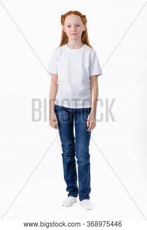 Girl In White T-shirt. Young Caucasian, European Woman, Girl In Blank White T-shirt. White T-shirt O