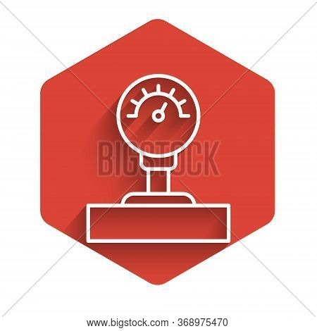 White Line Gauge Scale Icon Isolated With Long Shadow. Satisfaction, Temperature, Manometer, Risk, R