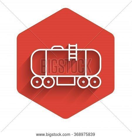 White Line Oil Railway Cistern Icon Isolated With Long Shadow. Train Oil Tank On Railway Car. Rail F