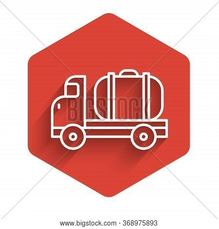 White Line Tanker Truck Icon Isolated With Long Shadow. Petroleum Tanker, Petrol Truck, Cistern, Oil