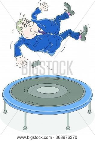 Fat Active Government Official Jumping On A Sport Trampoline, Vector Cartoon Illustration Isolated O