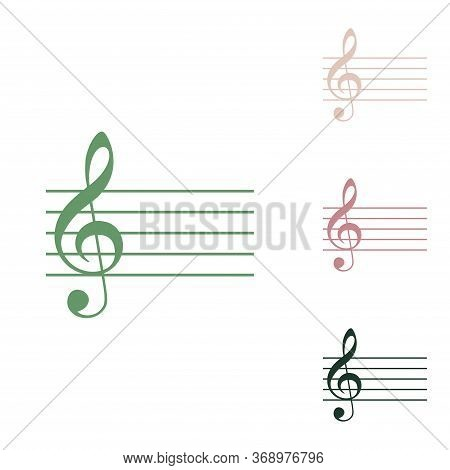 Music Violin Clef Sign. G-clef. Russian Green Icon With Small Jungle Green, Puce And Desert Sand One