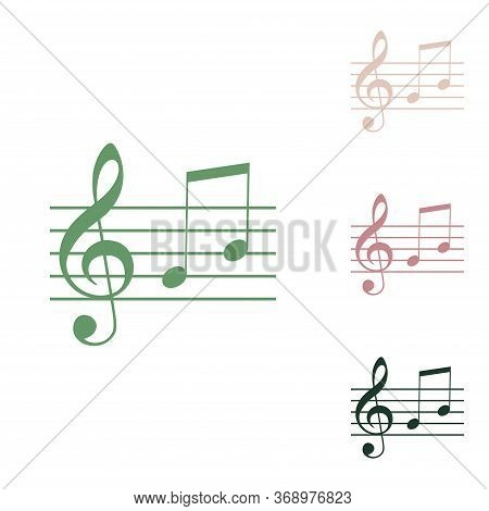 Music Violin Clef Sign. G-clef And Notes G, H. Russian Green Icon With Small Jungle Green, Puce And