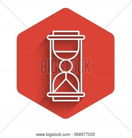 White Line Old Hourglass With Flowing Sand Icon Isolated With Long Shadow. Sand Clock Sign. Business