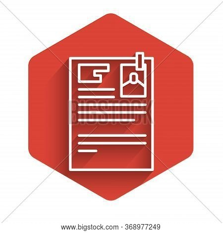 White Line Lawsuit Paper Icon Isolated With Long Shadow. Red Hexagon Button. Vector Illustration.