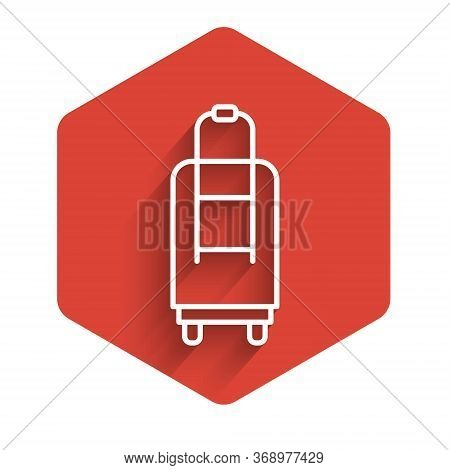 White Line Suitcase For Travel Icon Isolated With Long Shadow. Traveling Baggage Sign. Travel Luggag
