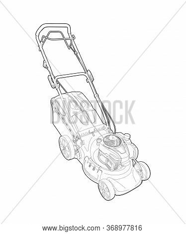 Lawn Mower - Detailed Linear Drawing. Garden Grass Cutter - Illustration, Coloring. Mowing Grass - A