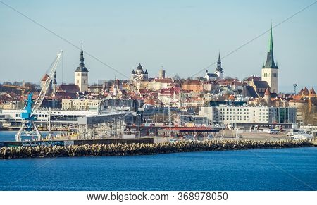 April 23, 2018, Tallinn, Estonia. View Of The Construction Of The Old Town And The Passenger Termina