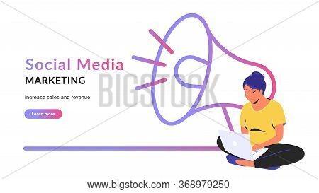 Social Media Marketing Creative Promo Banner. Flat Line Vector Illustration Of Cute Woman Sitting Al