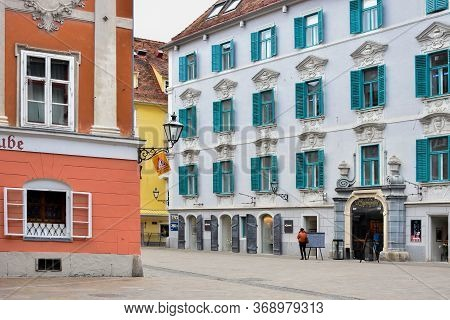 Graz/austria - February 02, 2020: Street With Shops And Restaurants In The Old Charming City Center