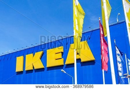 Samara, Russia - June 1, 2019: Exterior View Of The Famous Ikea Furniture Store With Ikea Logo And F