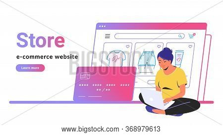 Online Store E-commerce Website Banner. Flat Line Vector Illustration Of Cute Woman Sitting Alone In