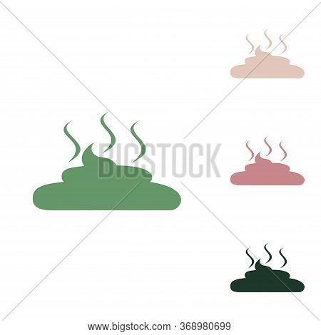 Simple Poop Sign Illustration. Russian Green Icon With Small Jungle Green, Puce And Desert Sand Ones
