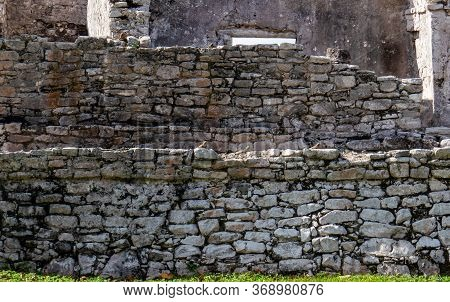 Close-up Of Walls From Inside The Ancient Mayan City Of Tulum In Quintana Roo, Mexico.