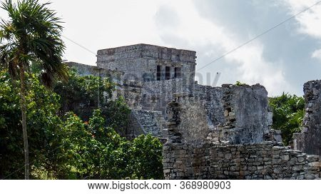 Side View Of The Highest Temple(castle) Under The Bright Sunlight Situated In The Ancient Mayan City