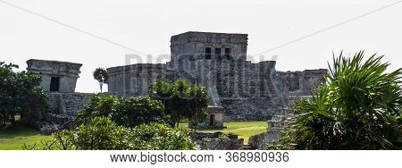 Stone Temple(castle) Situated In The Ancient Mayan City Of Tulum In Quintana Roo, Mexico.