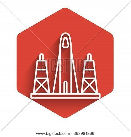 White Line Rocket Launch From The Spaceport Icon Isolated With Long Shadow. Launch Rocket In Space.