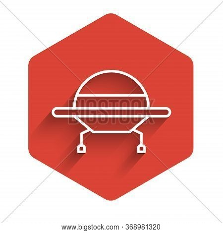 White Line Ufo Flying Spaceship Icon Isolated With Long Shadow. Flying Saucer. Alien Space Ship. Fut