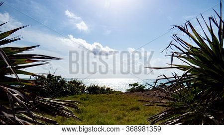 Beautiful View Of The Ocean And A Peaceful Relaxing Place Inside The Ancient Mayan City Of Tulum In