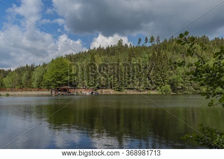 Bily Halstrov Reservoir In West Bohemia In Spring Sunny Fresh Day