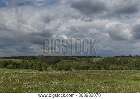 Landscape Near Vernerov Village And As Town In Spring Nice Day