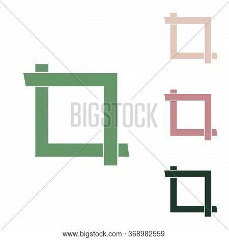 Cropping With Corners. Image Editor Sign. Russian Green Icon With Small Jungle Green, Puce And Deser