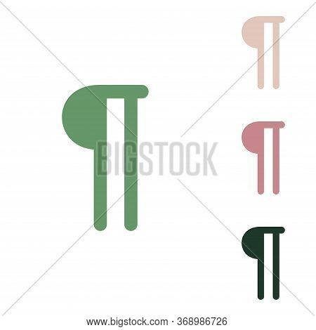 Paragraph Sign. Russian Green Icon With Small Jungle Green, Puce And Desert Sand Ones On White Backg