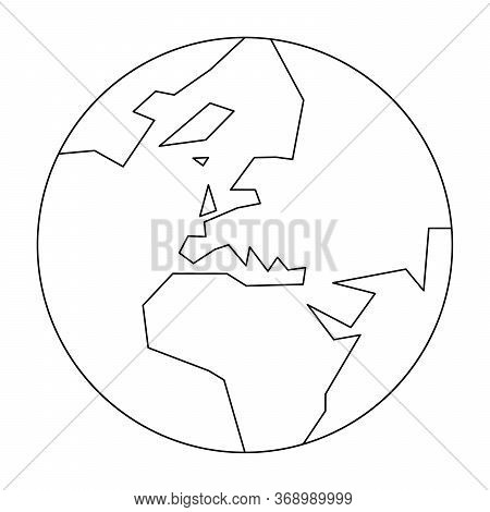 Simplified Outline Earth Globe With Map Of World Focused On Europe. Vector Illustration