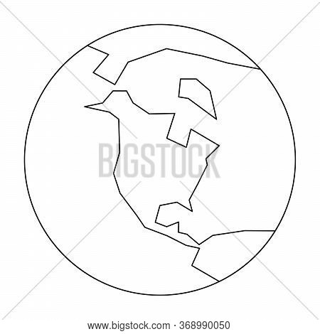 Simplified Outline Earth Globe With Map Of World Focused On North America. Vector Illustration