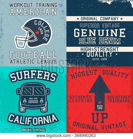 Set Of Vintage Design Print For T-shirt Stamp, Tee Applique, Fashion Typography, Badge, Label Clothi