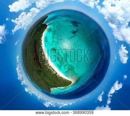 Amazing Image Of The Earth Planet Like Paradise Tropical Island With Palms. Palm Trees On The Caribb