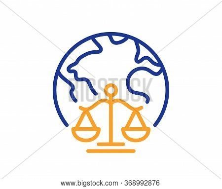 Magistrates Court Line Icon. Justice Scales Sign. Internet Law Symbol. Colorful Thin Line Outline Co