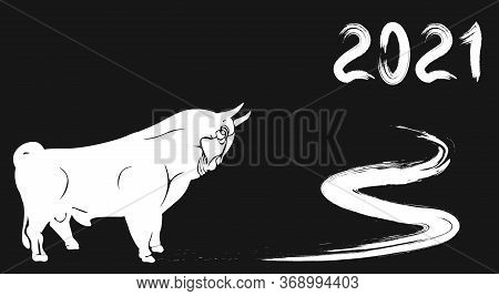 Happy New Year. White Silhouette Of A Bull. Lunar Horoscope Sign. Illustration