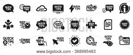 Set Of Helpful Tricks, Solution And Quickstart Guide Icons. Quick Tips Icons. Tutorial, Helpful Tips