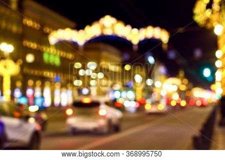 Blurred Abstract Bokeh Background Of Saint Petersburg Golden Lights On Nevsky Prospect In New Year N