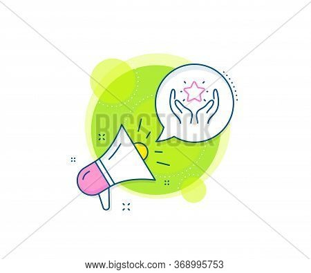 Holding Star Sign. Megaphone Promotion Complex Icon. Ranking Line Icon. Best Rank Symbol. Business M