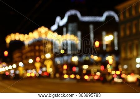 Defocused Background Of Nevsky Prospect At Saint Petersburg With Lights At Christmas Holiday
