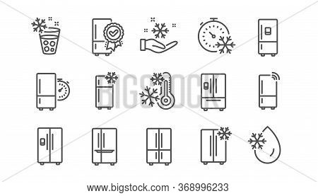 Fridge Line Icons Set. Refrigerator, Freezer Storage, Smart Fridge Machine. Cooler Box, Water With I