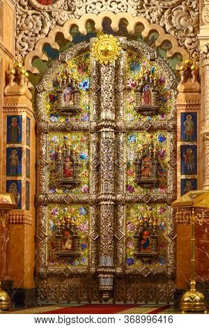 St. Petersburg, Russia - January 5, 2020: New Restored Holy Gate Of Church Of The Savior On Spilled