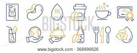 Set Of Food And Drink Icons, Such As Recycle Water, Food. Certificate, Save Planet. Water Bottle, Re