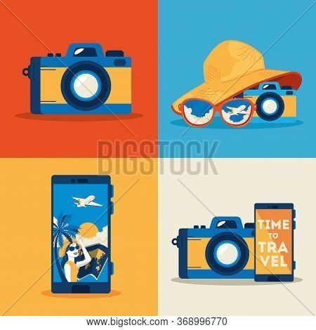 Camera Photographic With Set Icons Of Summer Travel Vector Illustration Design