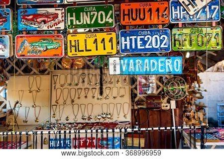 Varadero, Cuba - November, 2018: Car License Plates For Sale In Varadero At Souvenir Market. Car Lic