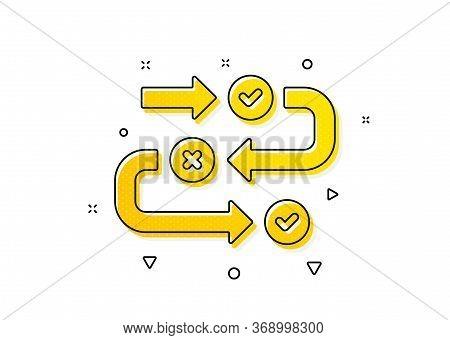 Quiz Algorithm Sign. Survey Progress Icon. Business Interview Symbol. Yellow Circles Pattern. Classi
