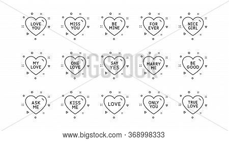 Sweetheart For Valentines Day, Love Heart, Romantic Message. Sweet Heart Line Icons. Marry Me, Kiss
