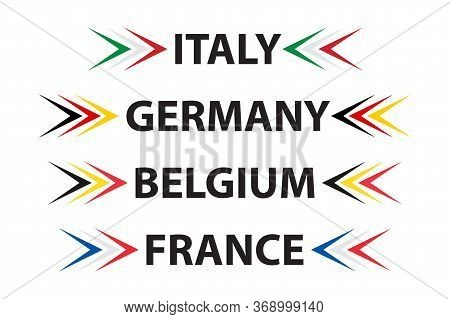 Set Of Four Italian, German, Belgian And French Symbols. Made In Italy, Made In France, Made In Germ