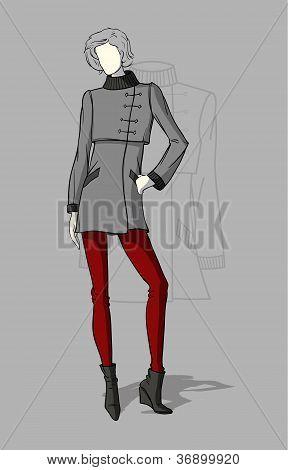 Woman in short coat